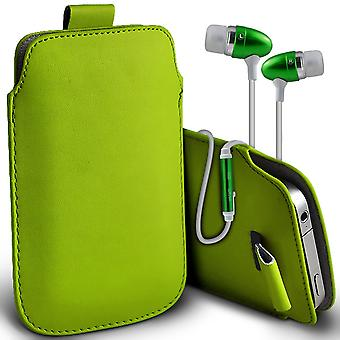 ( Green + Earphones) Pouch Case For Yezz Andy A5QP case Premium Stylish Faux Leather Pull Tab Pouch Skin Case Various Colours To Choose From With High Quality Fitted in Ear Buds Stereo Hands Headphones Headset with Built in Micro phone Mic and On-Off ButtonYezz Andy A5QP Cover By i-Tronixs