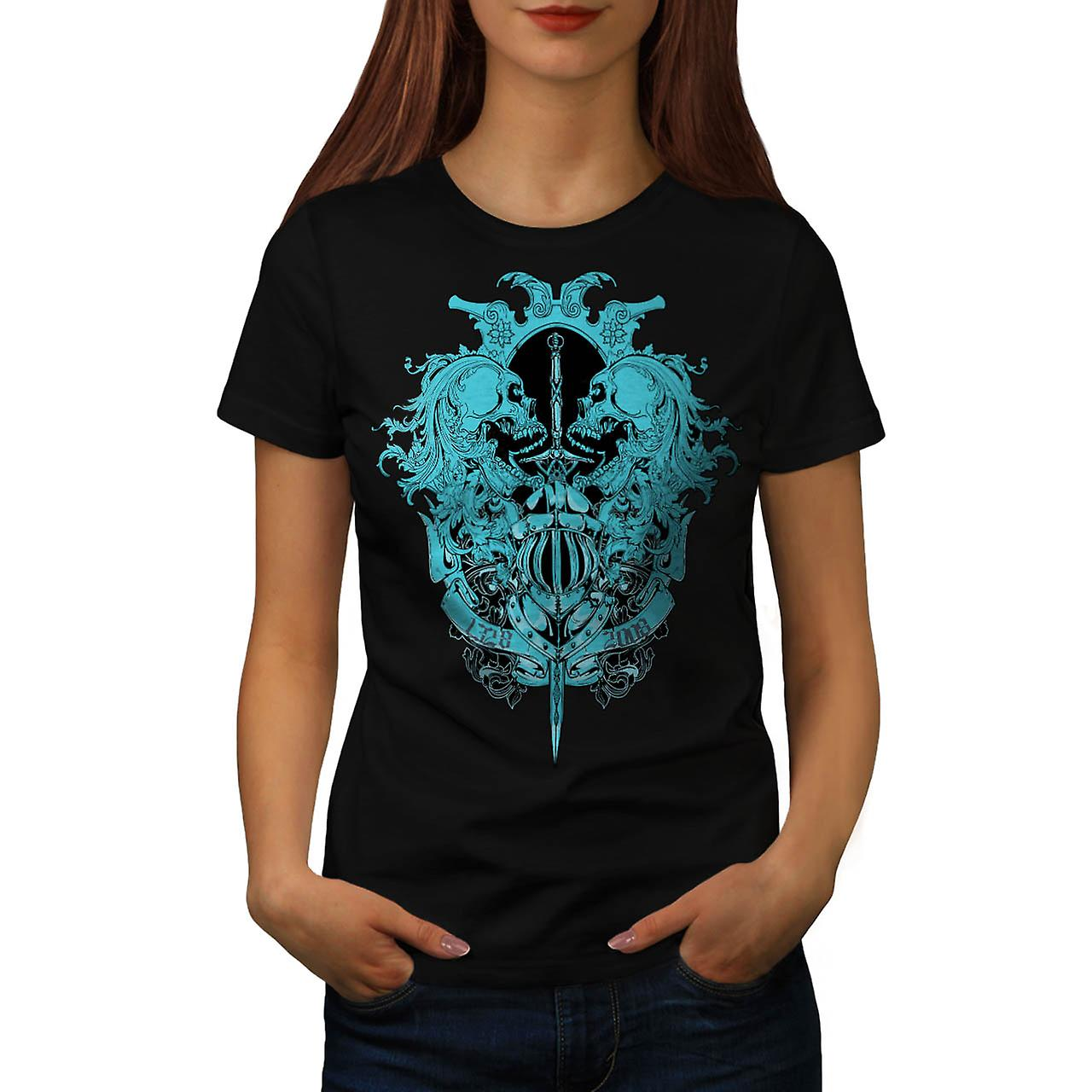 Ghost Skull Dead Vintage Fear Fight Women Black T-shirt | Wellcoda