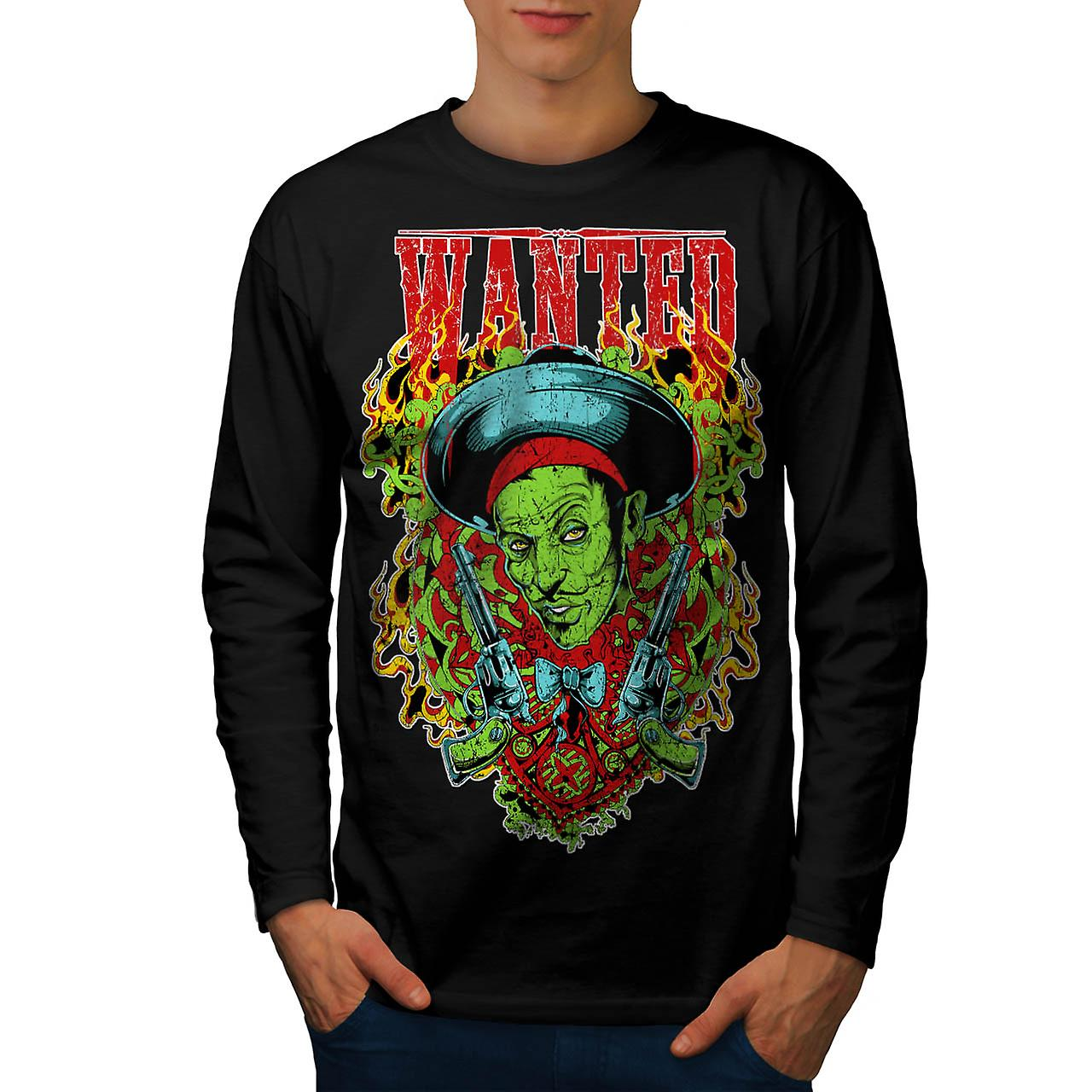 Wanted Dead Or Alive Crime Gun Men Black Long Sleeve T-shirt | Wellcoda