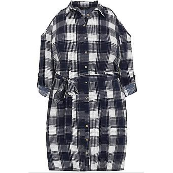 Navy & White Checked Cold Shoulder Sleeveless Shirt Dress