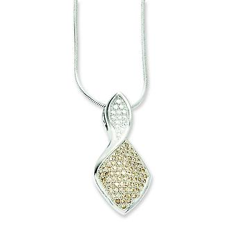 Sterling Silver and CZ Brilliant Embers Champagne And White Necklace - 18 Inch