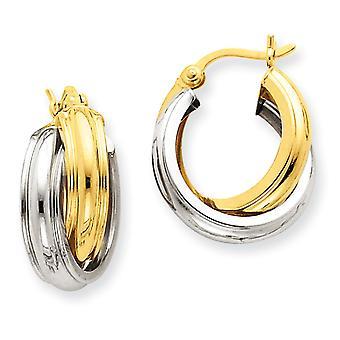 14k tweekleurig scharnierend post Gold gepolijst dubbele hoepel oorbellen - 2,3 gram