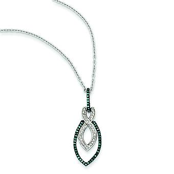 Sterling Silver Gift Boxed Rhodium-plated Lobster Claw Closure Blue and White Diamond Pendant