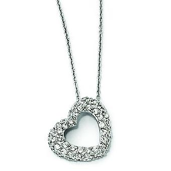Sterling Silver CZ Heart Collana - 18 pollici