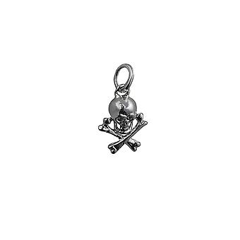 Silver 12x10mm Skull and Crossbones Pendant or Charm
