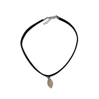 Minimalist statement choker necklace with leaf