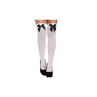 Best Dressed White With Black Bow Hold-Up Stockings