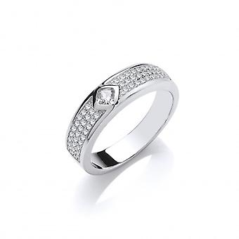 Cavendish French Silver and CZ Triple Band with Solitaire Ring
