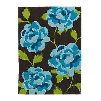 Stylish High Class Vibrant Blue Floral Pattern Rug 793 - Phoenix