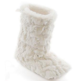 Girls SlumberzzZ Plush Faux Fur Boot Style Slipper With Sequin Detail FT0589
