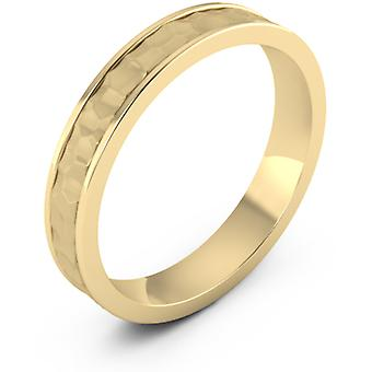 4mm Hammered Wedding Band, 14K Yellow Gold