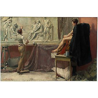 Tom Roberts - The sculptor's studio Poster Print Giclee