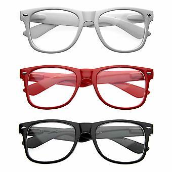 Nerd Raver Poser Clubbing Clear Lens UV400 Dork Horn Rimmed Glasses