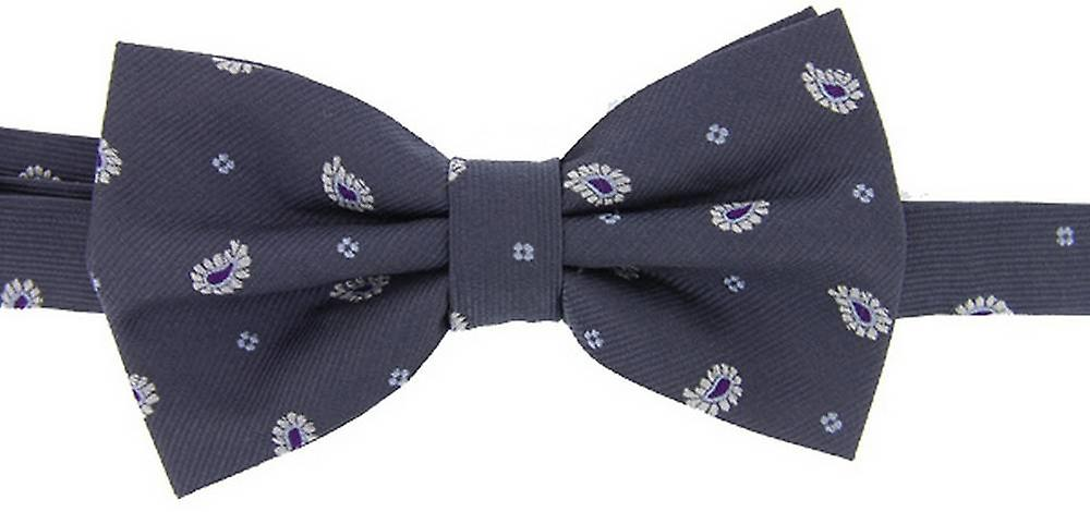 David Van Hagen Small Paisley Bow Tie - Grey