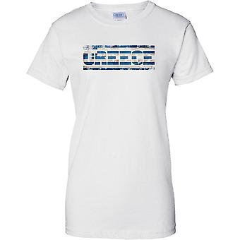 Efecto de bandera de Grecia Grunge país nombre - señoras T Shirt