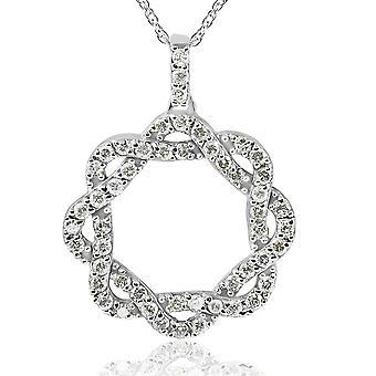 1ct Винтаж Diamond бесконечности переплелись круг кулон 14K Белое золото (I-J, I2-I3)