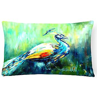 Proud Peacock Green   Canvas Fabric Decorative Pillow