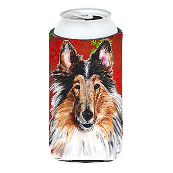 Collie Red Snowflakes Holiday Tall Boy Beverage Insulator Hugger