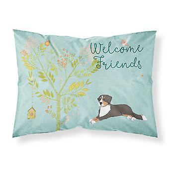 Welcome Friends Bernese Mountain Dog Fabric Standard Pillowcase