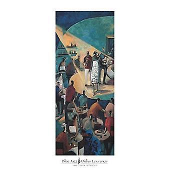 Blauwe Jazz Poster Print by Didier Lourenco (18 x 38)