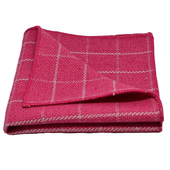 Fuchsia Pink Birdseye Check Pocket Square, Handkerchief