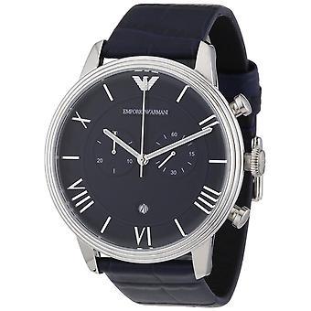 Emporio Armani męskie chronograf zegarek niebieski pasek niebieski cyferblat AR1652