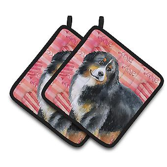 Carolines Treasures  BB9732PTHD Bernese Mountain Dog Love Pair of Pot Holders
