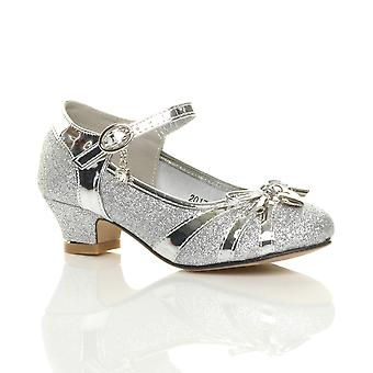 Ajvani girls low heel diamante bow mary jane glitter court shoes