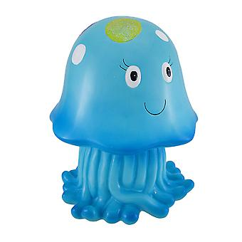 Joyful Blue Jellyfish Whimsical Childrens Coin Bank 10 in.