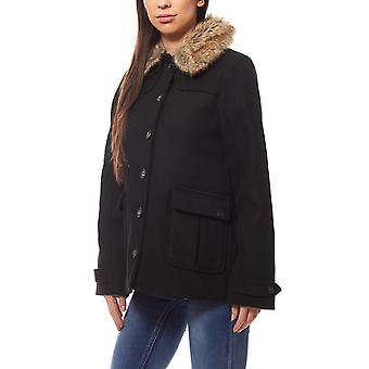 Lee short wool women's spring jacket black faux fur collar