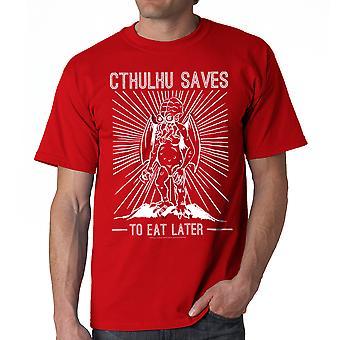 Warpo Cthulhu sparer mænds rød T-shirt