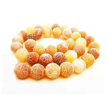 Strand 38+ Orange Frosted Cracked Agate 10mm Plain Round Beads GS16122-3