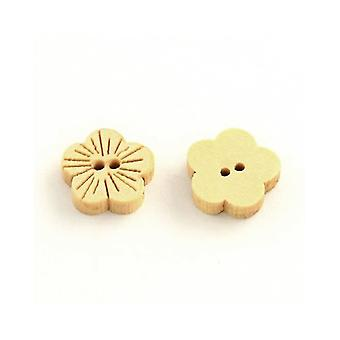Packet 30 x Beige Wood 13mm Flower 2-Holed Sew On Buttons Y01115
