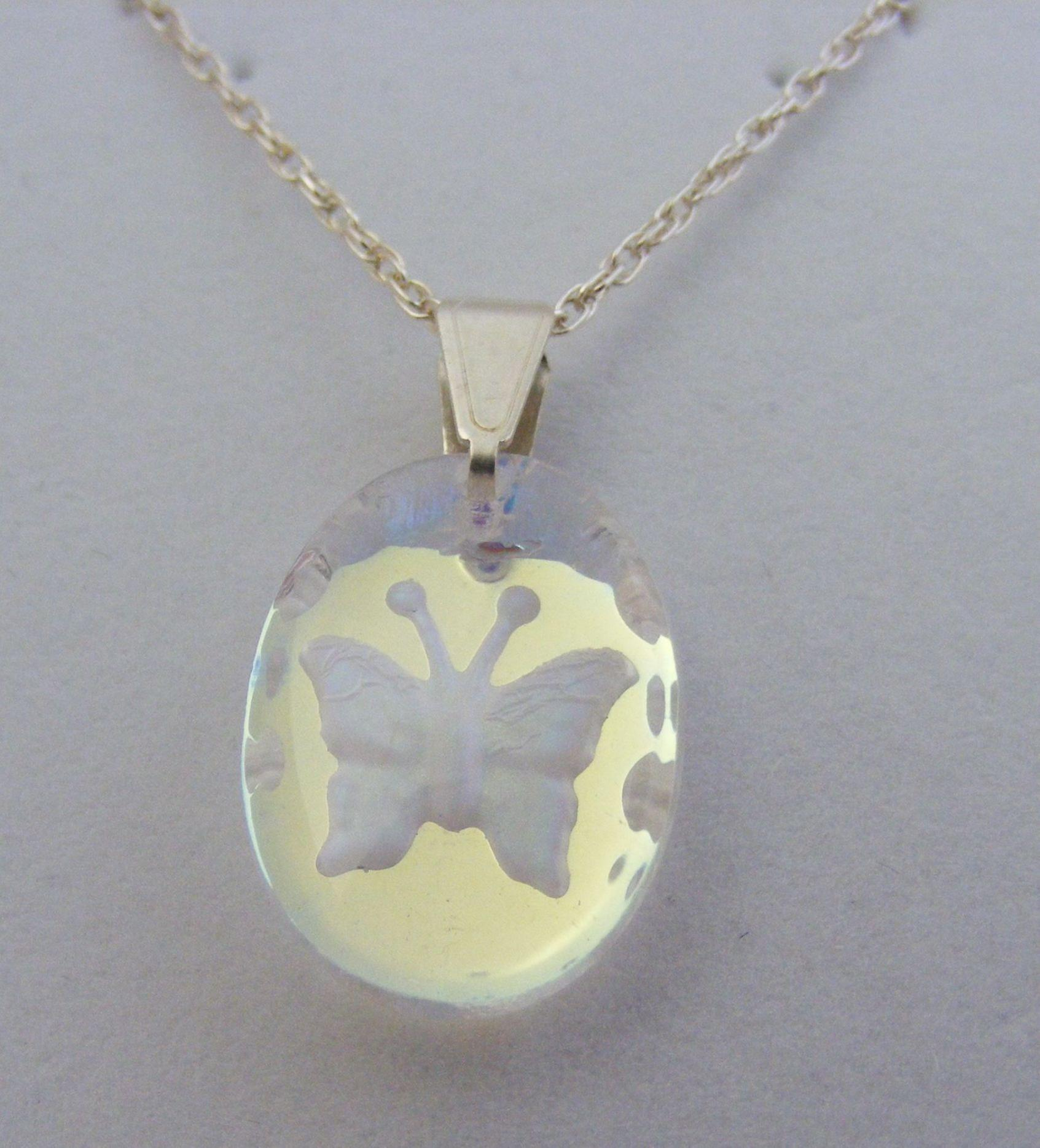 Aurora Borealis Small Oval Butterfly Crystal Pendant