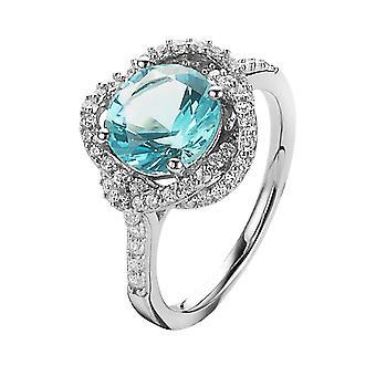 Orphelia Silver 925 Ring Syn.Blue Topaz  Zirconium   ZR-7036