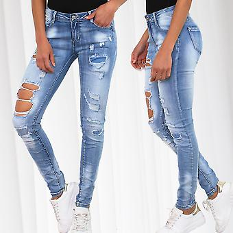 Ladies of jeans trousers ripped stretch used tube low destroyed skinny cracks