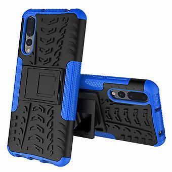 Für Huawei P20 Pro Hybrid Case 2teilig Outdoor Blau Etui Tasche Hülle Cover Schutz