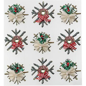 Jolee's Boutique Dimensional Stickers-Wooden Snowflakes