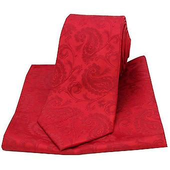David Van Hagen Paisley Woven Tie and Pocket Square Set - Red