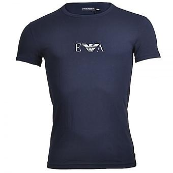 Emporio Armani Coloured Stretch Cotton Logo Crew Neck T-Shirt, Marine, Small