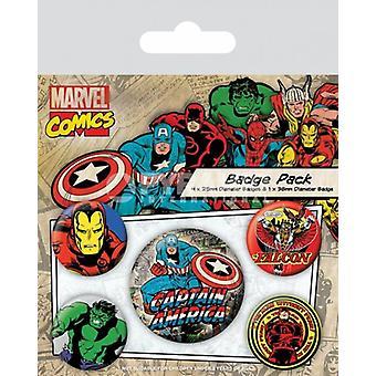Marvel Comics Capitão América 5 redondo pino distintivos no Pack