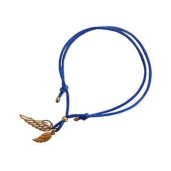 Gemshine - ladies - bracelet - WINGS - 925 Silver - Gold - blue - size adjustable