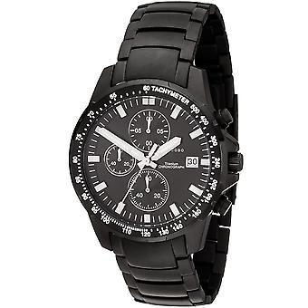 JOBO Herren Armbanduhr Quarz Chronograph Titan schwarz Herrenuhr mit Datum