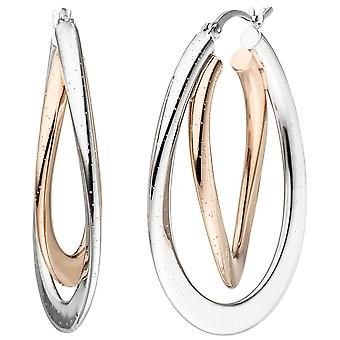 Hoops bicolor oval 925 silver plated earrings with glitter effect
