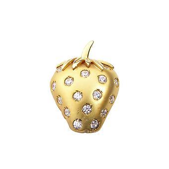 Golden Strawberry pendant with zirconia