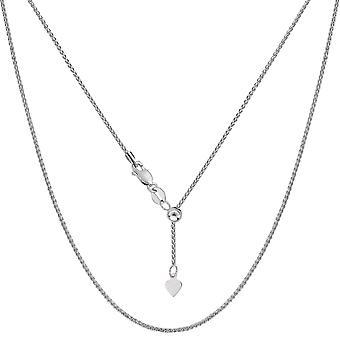 Sterling zilveren Rhodium Plated verstelbare tarwe Chain ketting, 1.0 mm, 22