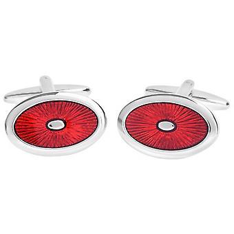 David Van Hagen glanzend ovaal glazuur Sunburst Design Manchetknopen - rood/zilver