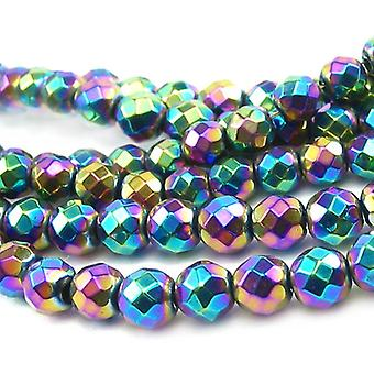 Packet 5 x Rainbow Hematite (Non Magnetic) 10mm Faceted Round Beads VP1700