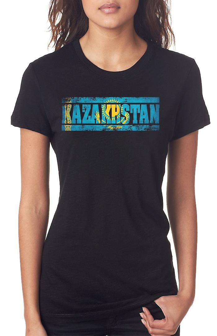 Kazakhstan Flag - Words Ladies T Shirt
