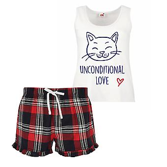 Unconditional Love Cat Ladies Tartan Frill Short Pyjama Set Red Blue or Green Blue